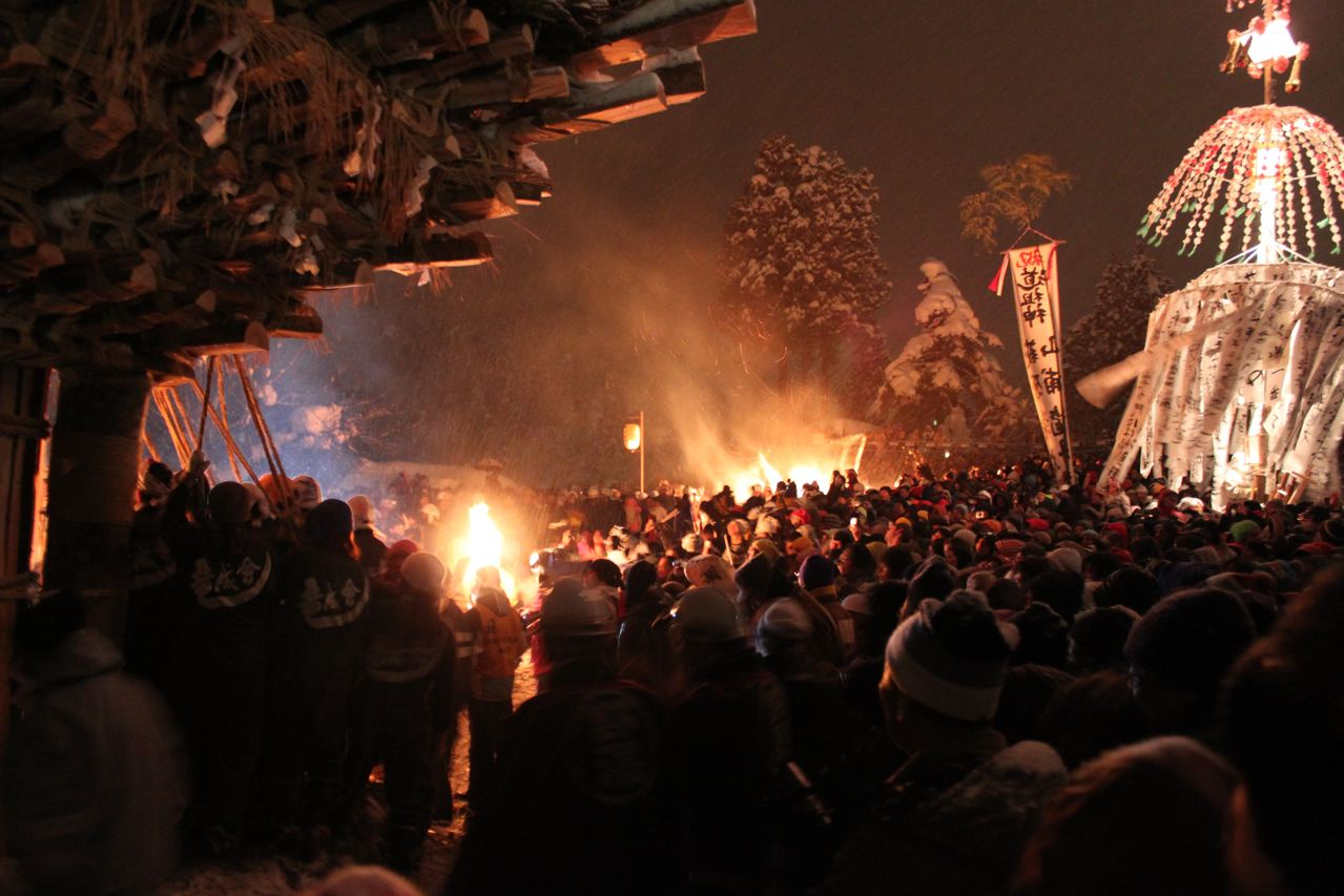 The stage is set for the spectacular Fire Festival in Nozawa Onsen