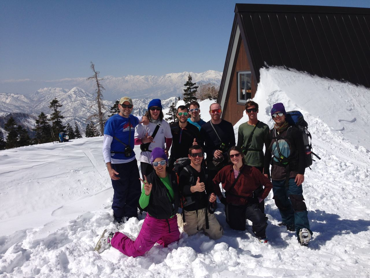 The Nozawa Holidays gang enjoying the views from the hut before taking off