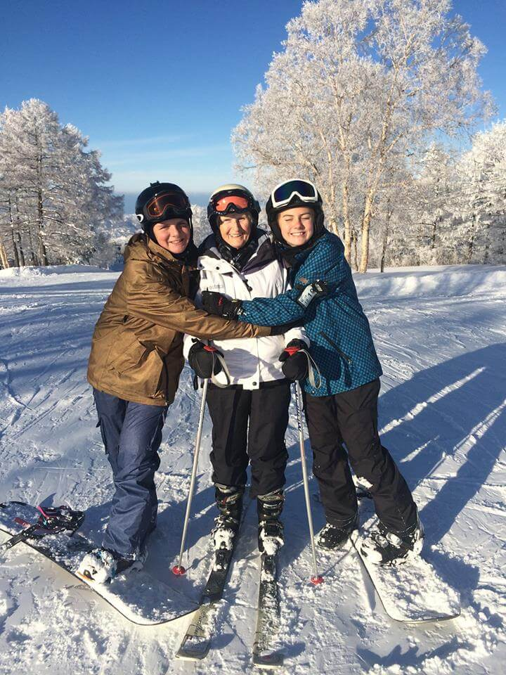 Mum with Holly and Sam Skiing Japan