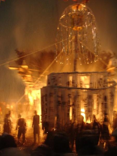 Nozawa Onsen Fire Festival in full blaze
