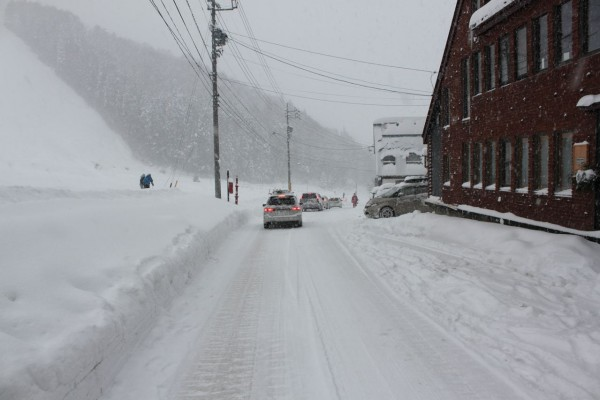 Road in front of Nozawa Cottage Blizzard Alert