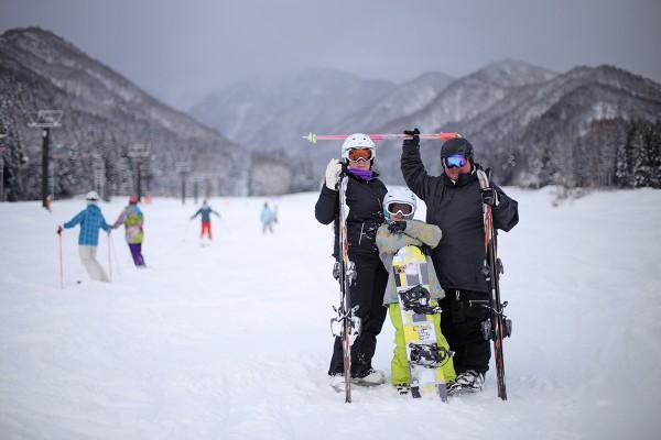 Liz, Alex and Tim from Canberra enjoying their time in Nozawa Onsen.