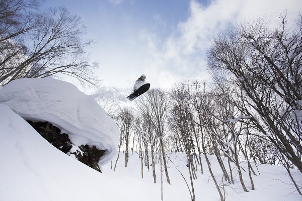 Lucas launches off a massive pillow in Nozawa Onsen.
