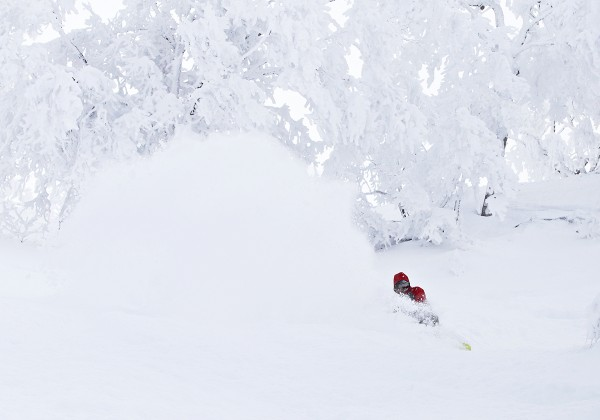 Reece throwing some spray in Nozawa Onsen.