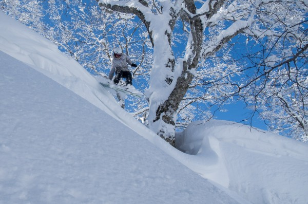 Kelsey getting some airtime. Enjoying the March powder in Nozawa Onsen.
