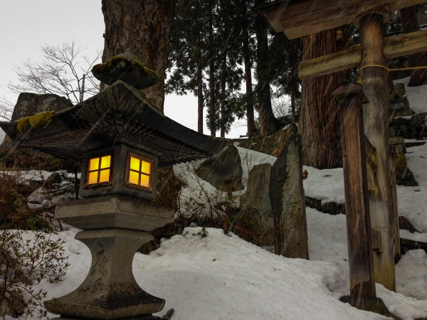One of the many local shrines in Nozawa Onsen.