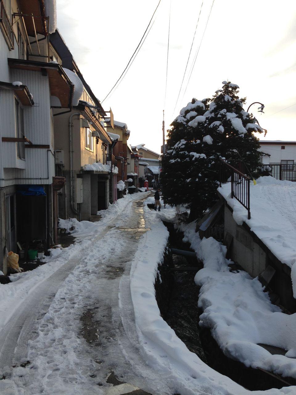 Sun set, small street, snow shovel Nozawa Style