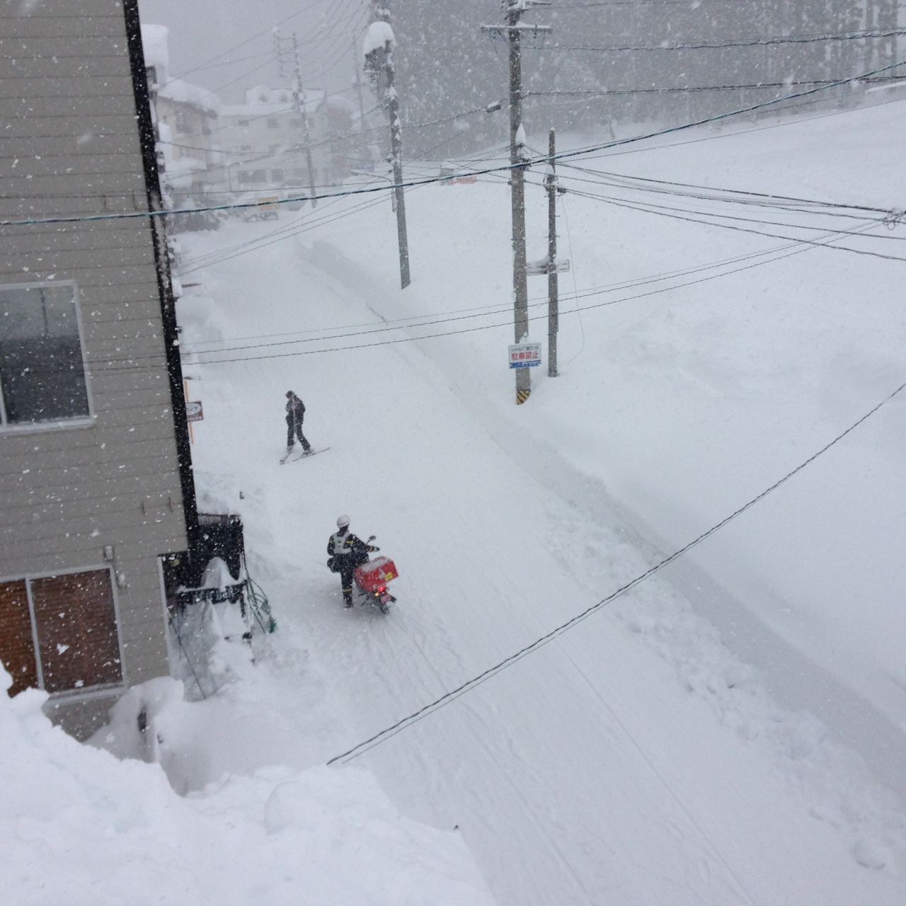 Spare a though for the local Nozawa Postie he delivers Rain, Hail or 3 meters of fresh snow...