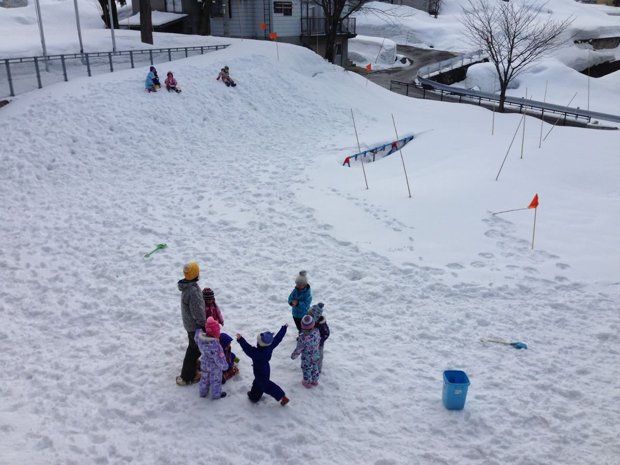 Kids in Nozawa need to bring their A game to the playground. Teh swings are under 3 meters of snow for a few months every year.