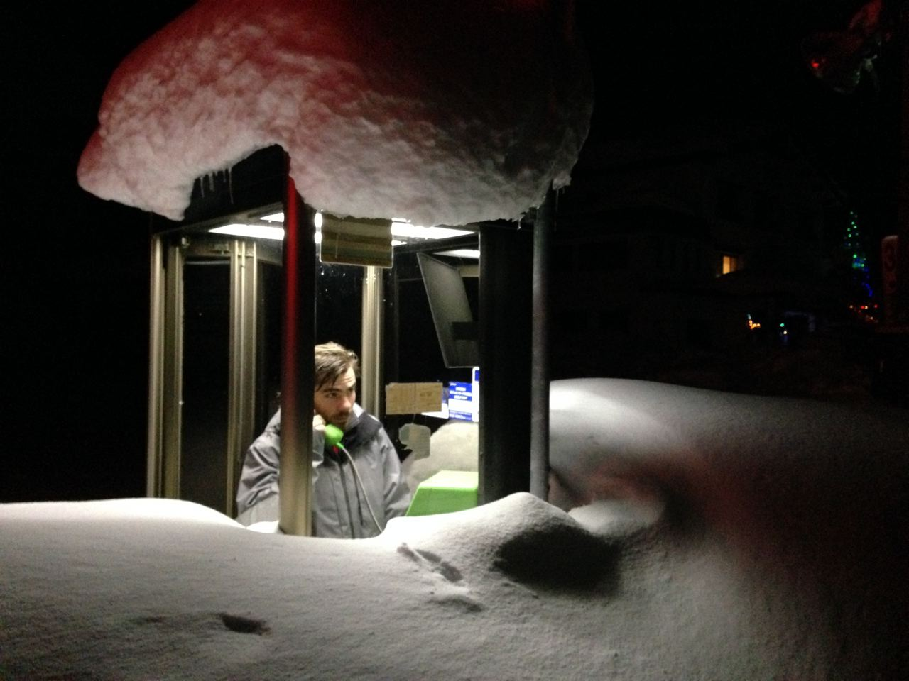 The Public Phone in Nozawa may as well be covered with snow! Get a SIM card and check your Face book update on the Lift!