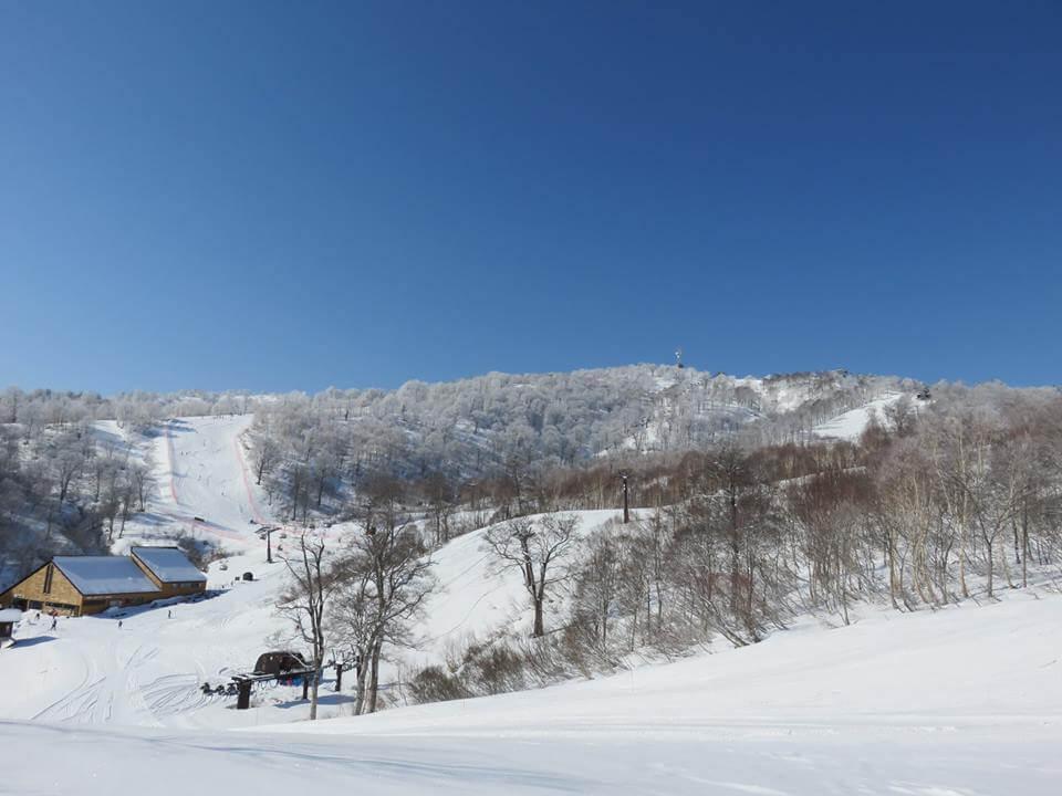 Yamabiko at the top of Nozawa Onsen looking the goods today. Awesome for mid April! Photo by Nozawa Onsen Snow Resort