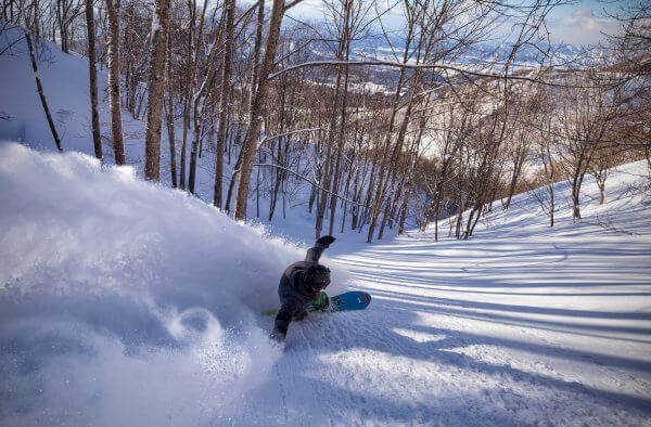 Pavel blasts through untouched powder at a resort near Nozawa Onsen